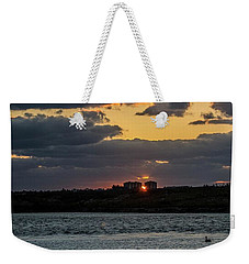Peeking Between The Condos Weekender Tote Bag by Nance Larson