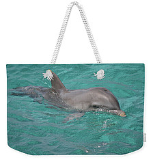 Weekender Tote Bag featuring the photograph Peeking Dolphin by Melissa Lane