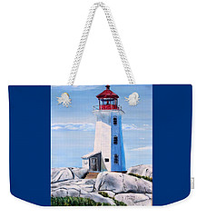 Weekender Tote Bag featuring the painting Peggy's Cove Lighthouse by Marilyn  McNish