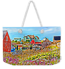Peggy's Cove Wildflower Harbour Weekender Tote Bag by Kevin J McGraw