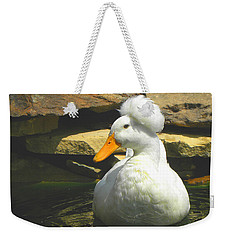 Weekender Tote Bag featuring the photograph Pekin Pop Top Duck by Sandi OReilly