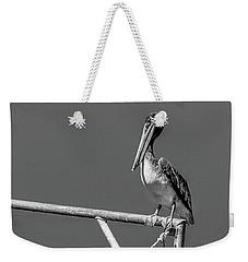 Pelican In Black And White Weekender Tote Bag