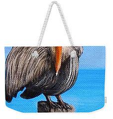 Pelican On Pier Weekender Tote Bag