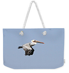 Weekender Tote Bag featuring the pyrography Pelican On The Wing by Shoal Hollingsworth