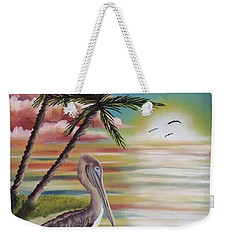 Pelican Sunset Weekender Tote Bag by Dianna Lewis