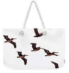 Weekender Tote Bag featuring the photograph Pelicans At Half Moon Bay by Steven Richman