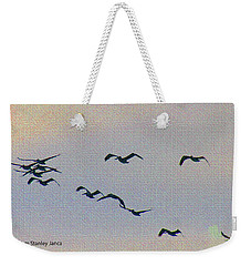 Pelicans Heading Home After Fishing All Day Weekender Tote Bag