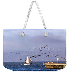 Weekender Tote Bag featuring the photograph Pelicans Pelicans by Kate Brown