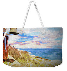 Pemaquid Lighthouse Bell On Maine Rocky Coast. Weekender Tote Bag