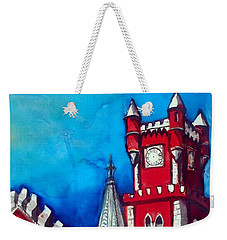 Weekender Tote Bag featuring the painting Pena Palace In Portugal by Dora Hathazi Mendes