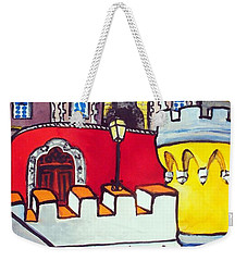 Weekender Tote Bag featuring the painting Pena Palace In Sintra Portugal  by Dora Hathazi Mendes