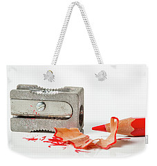 Weekender Tote Bag featuring the photograph Pencil And Sharpener by Gary Gillette