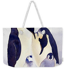 Weekender Tote Bag featuring the painting Penguin Family by Laurel Best
