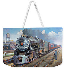 Weekender Tote Bag featuring the painting Penn Central Pacific. by Mike Jeffries