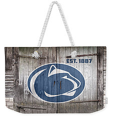 Penn State Football // Old Barn Doors Weekender Tote Bag by Tim Miklos