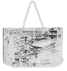 Weekender Tote Bag featuring the drawing Pennell Polo Grounds 1921 by Granger