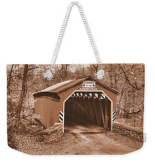 Pennsylvania Country Roads - Fleishers Covered Bridge Over Big Buffalo Creek Sepia - Perry County Weekender Tote Bag