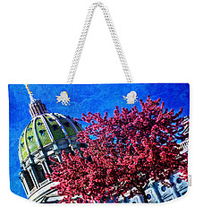 Weekender Tote Bag featuring the photograph Pennsylvania State Capitol Dome In Bloom by Shelley Neff