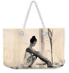 Weekender Tote Bag featuring the painting Pensive Ballerina by Chris Armytage
