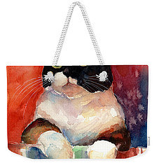 Pensive Calico Tubby Cat Watercolor Painting Weekender Tote Bag