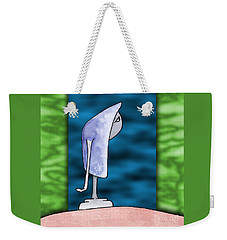 Weekender Tote Bag featuring the drawing Pensive by Uncle J's Monsters