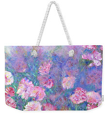Weekender Tote Bag featuring the painting Peonies by Claire Bull