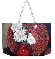 Weekender Tote Bag featuring the painting Peonies For Nana by Tom Roderick