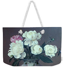 One Pink And Four White Peonies, Lavender Cloth  Weekender Tote Bag