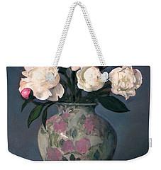 Peonies In Floral Vase With Red Apple Weekender Tote Bag