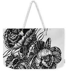 Peonies Line Drawing Weekender Tote Bag