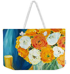 Weekender Tote Bag featuring the painting Peonies by Maria Langgle