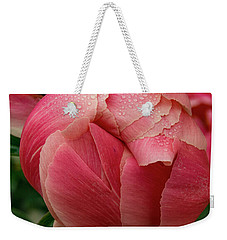 Weekender Tote Bag featuring the photograph Peony Detail by Jean Noren