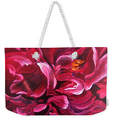 Weekender Tote Bag featuring the painting Peony by LaVonne Hand