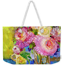 Weekender Tote Bag featuring the painting Peony Love by Rosemary Aubut