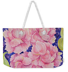 Weekender Tote Bag featuring the painting Peony Passion by Michele Myers
