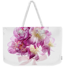 Weekender Tote Bag featuring the photograph Peony Pink Squared by Rebecca Cozart