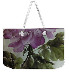 Weekender Tote Bag featuring the painting Peony20170126_1 by Dongling Sun