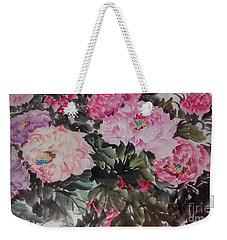 Weekender Tote Bag featuring the painting Peony20170126_2 by Dongling Sun