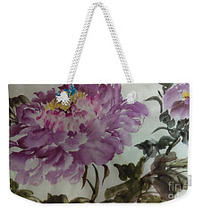 Weekender Tote Bag featuring the painting Peony20170213_1 by Dongling Sun