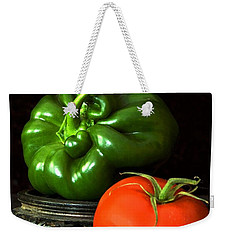 Weekender Tote Bag featuring the photograph Pepper And Tomato by Elf Evans