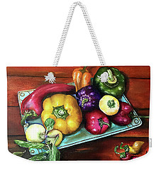 Peppers And A Turquoise Tray Weekender Tote Bag