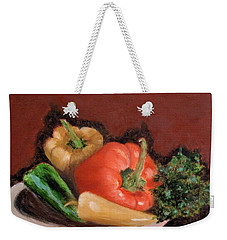 Peppers And Parsley Weekender Tote Bag by Jamie Frier