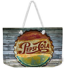 Weekender Tote Bag featuring the photograph Pepsi-cola Sign Vintage by Betty Denise