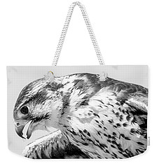 Peregrine Falcon In Black And White Weekender Tote Bag