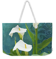 Weekender Tote Bag featuring the painting Perfection - Calla Lily Trio by Audrey Jeanne Roberts