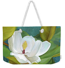 Weekender Tote Bag featuring the painting Perfection - Magnolia Blossom Floral by Audrey Jeanne Roberts