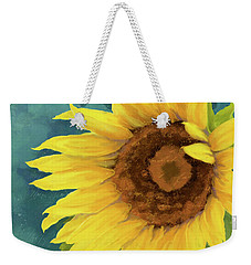 Weekender Tote Bag featuring the painting Perfection - Russian Mammoth Sunflower by Audrey Jeanne Roberts