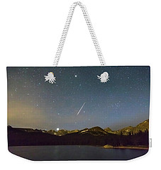 Weekender Tote Bag featuring the photograph Perseid Meteor Shower Indian Peaks by James BO Insogna