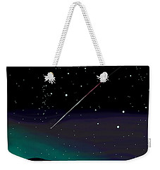 Weekender Tote Bag featuring the digital art Perseid Meteor Shower  by Jean Pacheco Ravinski