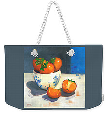 Weekender Tote Bag featuring the painting Persimmons by Susan Thomas